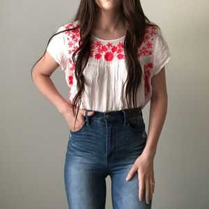 Maurices Boho Peasant Crochet Summer Shirt Top H